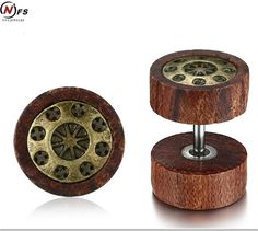 NFS Wood Car Wheel Design Stainless Steel Men Earrings Unique Wooden Stylish Male Jewelry Vintage Gold Punk Jewelry  Drop Ship #Affiliate