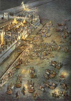 Ataque a un fuerte del muro de Adriano... Lo de los bolaños infernales y los carros no lo acabo de ver, pero bueno... Más en www.elgrancapitan.org/foro