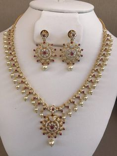 Simple and cute cz stones with ruby and pearls necklace set