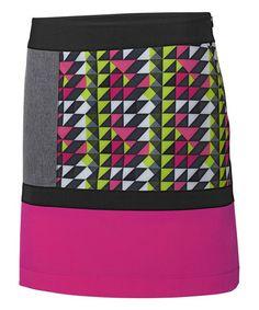 Loving this Ribbon Pink & Black Geometric Suri Skort - Women on #zulily! #zulilyfinds