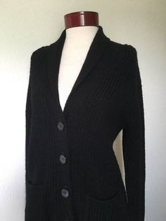 80s vintage black cardigan sweater 1980s by twinflamesboutique