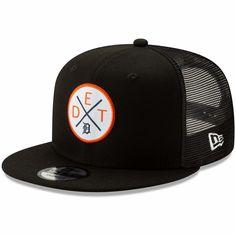 50851c7e8c568 Men s Detroit Tigers New Era Black Vert Trucker 9FIFTY Adjustable Snapback  Hat