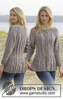 """Casaco DROPS com tranças e raglan, tricotado de cima para baixo ou em top down, em """"Karisma"""". Do S ao XXL ~ DROPS Design"""
