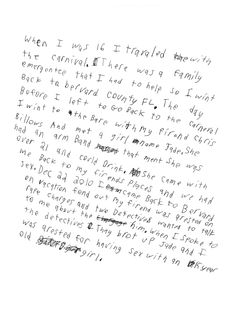 Handwritten letter from a resident of Miracle Village - Anonymous with Sofia Valiente and Josh Sanburn, 2014