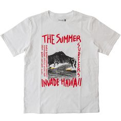 """CAL O LINE """"PRINT T-SHIRT,INVADE HAWAII""""POP ERAのポスターをイメージしたフォトTです。『夏のサーファーハワイを侵略する』というメッセージとハワイのサウスショアに点在するサーフポイントをプ"""