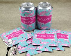 Custom Birthday Koozie SETS for Personalized Birthday Koozies  starting at $52.50 for a set of 5  https://onesassysister.com/collections/koozie-sets-no-individual-personalization/products/koozie-sets-for-birthday-party-with-custom-text