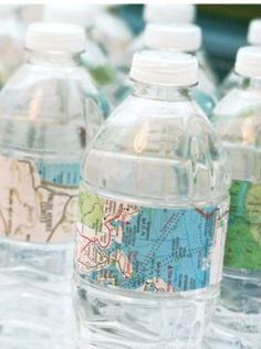 Water bottle with map