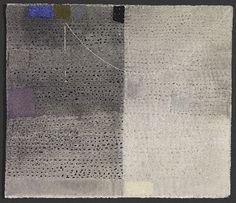 """'The Place Where Night is Day': Dorothy Caldwell: 2011: wax resist & silkscreen discharge on cotton with stitching and appliqué: 18 1/4"""" x  24 1/4"""""""