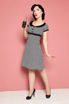Dolly Dress Houndstooth  Retro Mod Babydoll by AvaAdorableBaby, $112.00