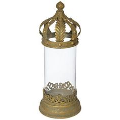 "Gold Crown Top 14 3/4"" High Pillar Candle Holder 