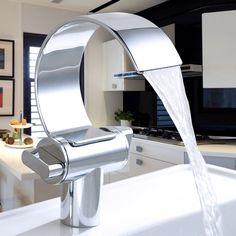 Auralum® Luxury Chroming Waterfall Basin Mixer Faucet for Bathroom Bathtub Kitchen Sink Bar Sink Faucet, Bathroom Mixer Taps, Modern Bathroom Faucets, Lavatory Faucet, Vanity Faucets, Vessel Sink, Sinks, Kitchen Sink, Washroom Design