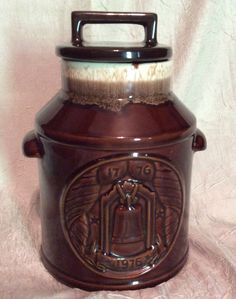 Vintage BiCentennial McCoy Stonecraft Cream and Brown Drip Cookie Jar made in USA.  Great Home Decor or for a Vintage Collection.  Made USA - pinned by pin4etsy.com