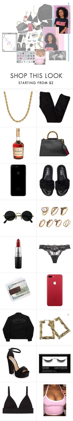 """⠀⠀⠀⠀⠀⠀""you wanna be my main squeeze, baby don'tcha? you want to give me what I need, baby"""" by r-edlyfe ❤ liked on Polyvore featuring J Brand, Gucci, Puma, MAC Cosmetics, La Perla, Versace Jeans Couture, Steve Madden and T By Alexander Wang"