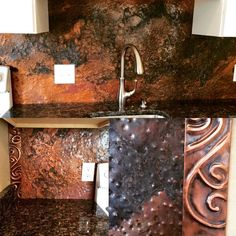 Copper backsplash hand hammered and acid treated with trim pieces- for our tiny house kitchen.  by fighttheblight