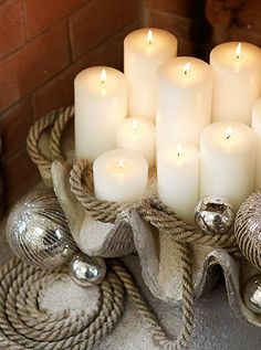 Give Thanks | Pottery Barn - I'm a fan of using classy decor items like these candles & metallics with rustic materials like the rope and clam shel....
