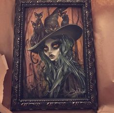 In love with @chloe_dawn1 and her original custom framed Jade witch! She turned out SO wonderful!!! 😭💞 if you guys would like your own Jade witch her and the kitty's are up in my Etsy shop. ;) reOW! 😼😼😼😼