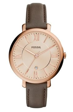 Fossil 'Jacqueline' Round Leather Strap Watch, 36mm available at #Nordstrom