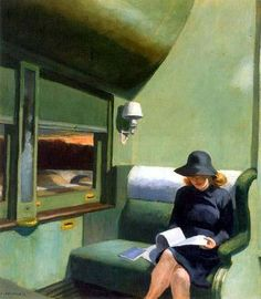 Woman in a slouch hat, reading alone at sunset on the train. Almost monochrome shades of green. By Edward Hopper