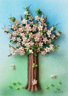Quilled tree with blossoms