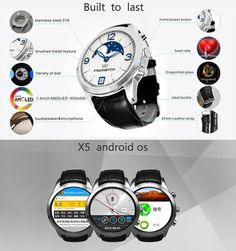 FINOW X5 1.4 inch Round Dial Android 4.4 3G Smartwatch Phone MTK6572 Dual Core 4GB ROM GPS Heart Rate Monitor WiFi  -  BLACK #phone #mobile #gadgets #CellPhones #smartphones @gadgetsone