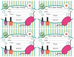 Spa party invitations free printable kids birthday invites from free spa party invitation template stopboris Images