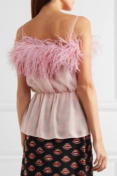 Prada - Feather-trimmed Crinkled Silk-chiffon Camisole - Pink - IT42