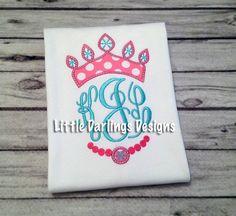 Girls Monogram Princess Shirt by LilDarlingsDesigns on Etsy, $24.00