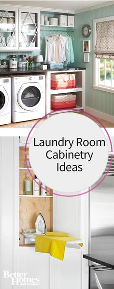 Ensure your laundry room is functional and contains plenty of storage and style with these cabinet ideas. Have a place to store your laundry supplies, change clothes and keep bins of items with our ideas to pack a lot of storage and cabinets into even a small laundry room.