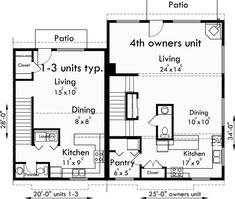 Triplex plans small lot house plans row house plans t for 8 plex apartment floor plans
