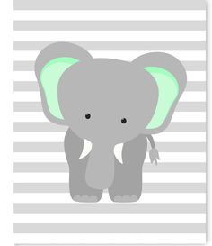 Elephant Nursery Art Gray and Mint Elephant Print Mint Nursery Elephant with Balloons Gender Neutral Nursery Decor Baby Girl Baby Boy