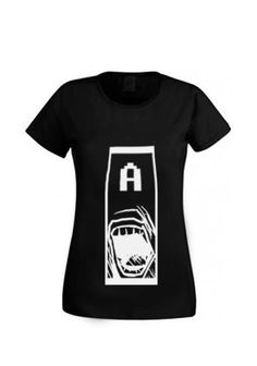 """Cool awesome girl t-shirt, woman shirt with """" A ! """" illustration.  Facebook- Tooba Posters Etsy- toobaposters #shirt #cloth #clothing #girl #woman #handmade #t-shirt #black #white #cool #nice Paint Shirts, Woman Shirt, Shirts For Girls, Black White, Hand Painted, Posters, Facebook, Cool Stuff, Nice"""