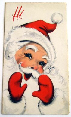 Vintage Christmas Card-Hi→ For more, please visit me at: www.facebook.com/jolly.ollie.77