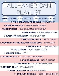 All American playlist. July 4th music Summer party. http://uscoop.com/web/blog-category/get-the-look/page/2/