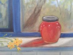 """Honey on the Windowsill. This is the first batch of honey from my little beehive! I was so taken with the color that I left the dishes in the sink and grabbed my easel to capture it. 8x10"""" oil painting on canvas (c) 2014 Rebecca Stebbins"""