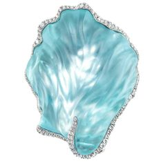 Naomi Sarna Carved Seashell Aquamarine Diamond gold Brooch | From a unique collection of vintage brooches at https://www.1stdibs.com/jewelry/brooches/brooches/