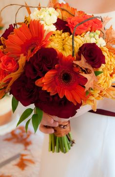 Fall Bouquet - orange gerbera daisy, bronze commercial mum, red roses, fall leaves No Gerberas