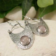 Rose Quartz Dangle Earring, Sterling Silver Romantic Rose & Pink Gemstone Earrings, Hand Forged Artisan Jewelry, Hippy Bohemian Jewelry by lukelys on Etsy https://www.etsy.com/listing/267126568/rose-quartz-dangle-earring-sterling