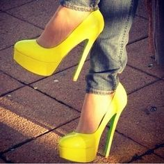 Love the yellow but I could never wear these!! I would be on my rear more then my feet...way too clumsy ; )