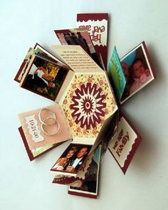 Hexagon Explosion Box - Explosion boxes look like a little gift, but when the lid is removed the sides fall down to reveal multiple tags where you can put photos, sayings, and other embellishments. when-creativity-knocks