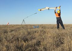 Kaz Minerals Staff Launching Their Q 200 Surveyor Pro Drone Over Mining