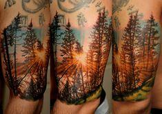 New landscape tattoo sleeve inspiration Ideas Wolf Tattoos, Feather Tattoos, Body Art Tattoos, New Tattoos, Hand Tattoos, Tattoos For Guys, Tatoos, Tattoo Bunt, 1 Tattoo