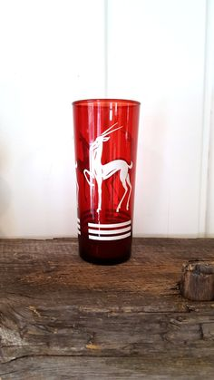 Vintage Gazelle Glass Anchor Hocking Red Glass With White Gazelle Decal and White Stripes by Pesserae on Etsy
