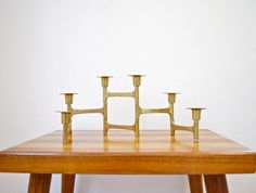 Vintage Brass Candle Holder Architectural by GlitteryMoonVintage, $100.00
