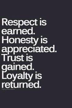 Respect is earned Honesty is appreciated. trust is gained. Loyalty is returned. #quote