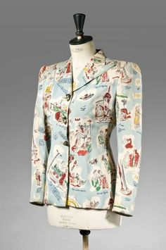 Printed crêpe jacket named 'Images de Paris' with Parisian life scenes (front view) | France, circa 1940-1945