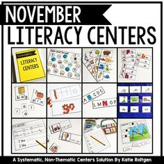 November Literacy Centers for Kindergarten | Your Kinder students are going to love doing these 20 different literacy centers. You get sight words, sort it out, letters and sounds, literacy spotlight, and I'm a writer. In addition to the centers, you get organization and management ideas plus student instruction cards. There are NOT holiday or season specific, but they will be appropriate for Kindy students in their third to fourth month of school.