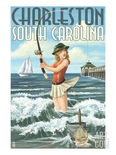 Hilton Head Island, South Carolina - Pinup Surfer Fishing - Lantern Press Artwork (Art Print Available), Multi Surf Fishing, Fishing Girls, Best Fishing, Women Fishing, Crappie Fishing, Saltwater Fishing, Fishing Tackle, Fishing Rods, Fishing Cart