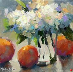 Hydrangeas & Oranges by Trisha Adams Oil ~ 8 x 8