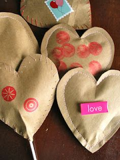 Sew a treat or gift into a brown paper shape