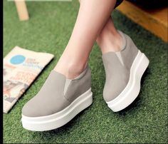 f723bd81ce60 Casual Womens Korean Faux Suede Flat Platform Slip On Sneakers Loafers Shoes  Platform Slip On Sneakers